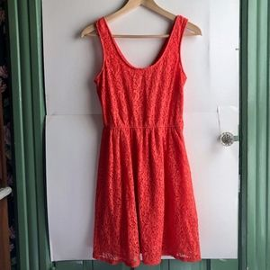 MOSSIMO Coral Red Floral Lace Sleeveless Dress